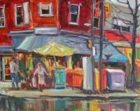 Rainy Day on Bloor #3 - Oil 16 x 20 SOLD