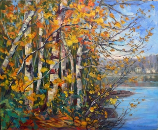 Birches at Hall's Lake by Lucy Manley