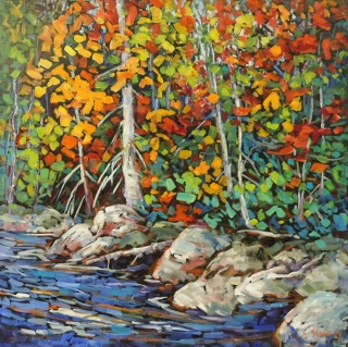 Fall on Kosh Long Lake by Lucy Manley