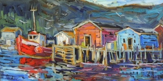 Docked – End of Day, Petty Harbour by lucy Manley