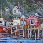 Moored for the Day, Petty Harbour by Lucy Manley