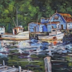 Morning Dockage, Petty Harbour by Lucy Manley