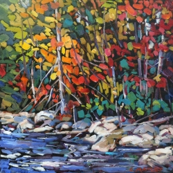 Fall on Kosh Long Lake by Lucy Manley - Oil - 16 x 16 - 400.00