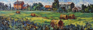 Late Summer Hay Bales, Fowlers Corners by Lucy Manley