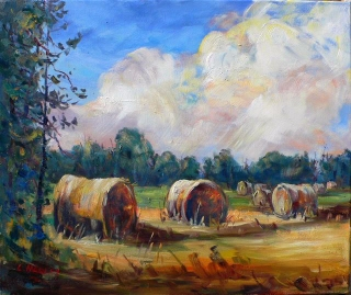 August Straw Bales by Lucy Manley
