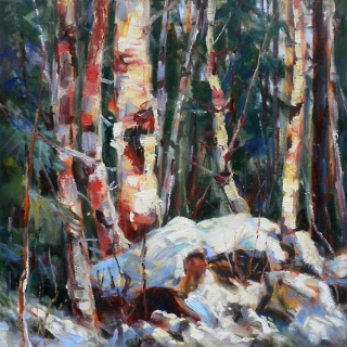 Birch Clump by Lucy Manley
