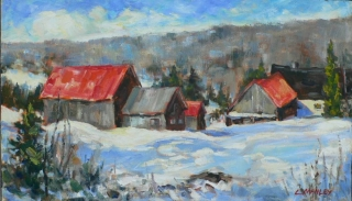 Barns Near Baie St. Paul, Quebec by Lucy Manley