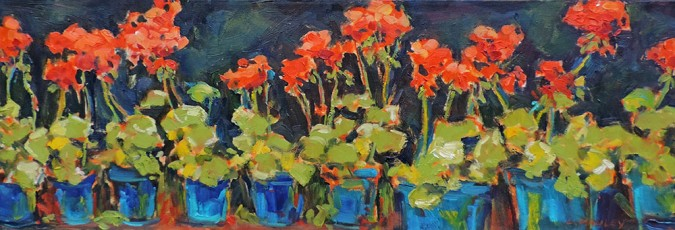 Lucy-Manley-Geraniums-in-Blue-Pots
