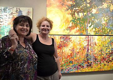 Lucy Manley and Sheila Davis are featured at the Lindsay Gallery as their Double Vision exhibit showcases each of their perspectives and styles painting the same subject. The exhibit runs until Aug. 22. Photo by Jamie Steel/This Week